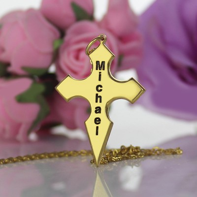 Gold Conical Shape Cross Name Name Necklace