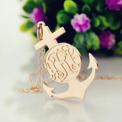 Rose Gold Anchor Cross Monogram Initial Pendant