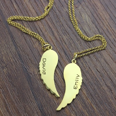 Matching Angel Wings Necklaces Set for Couple - 18CT Gold