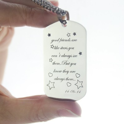 Solid White Gold Best Friends Gift Dog Tag Name Necklace