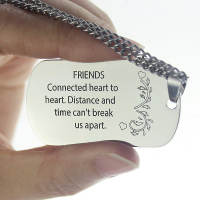 Solid White Gold Best Friends Dog Tag Name Necklace