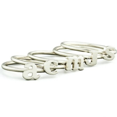 Women's Midi Initial Solid Gold Ring