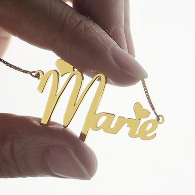Personalised Nameplate Necklace for Girls - 18CT Gold