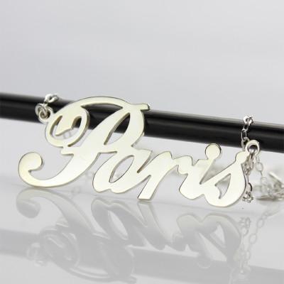 Paris Hilton Style Name Necklace 18CT Solid White Gold