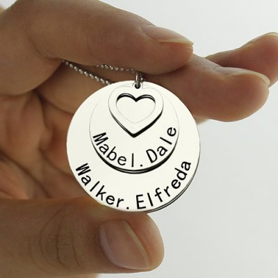 Gold Disc Family Pendant Necklace Engraved Names