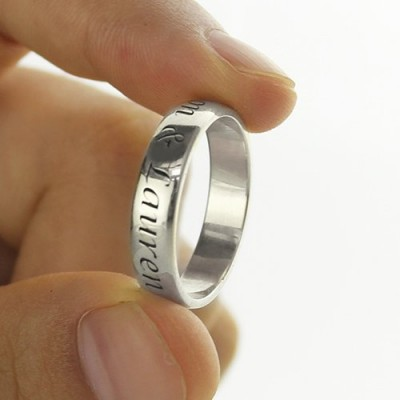 Promise Name Solid White Gold Ring