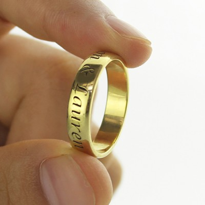 Engraved Promise Name Ring - 18CT Gold