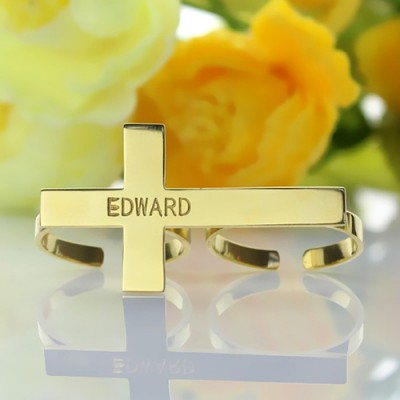 Engraved Name Two finger Cross Ring - 18CT Gold
