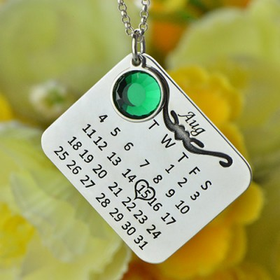 Solid Gold Birthstone Birthday Calendar Necklace Gifts