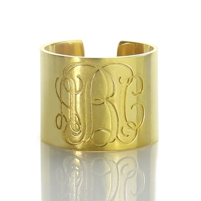 Script Monogram Cuff Ring Gifts - 18CT Gold