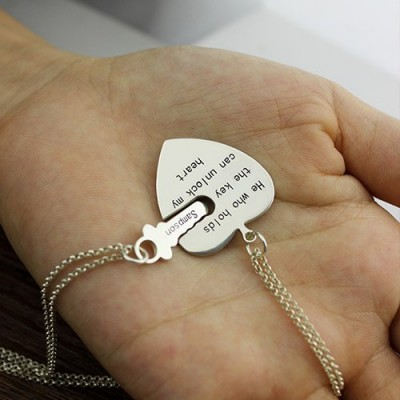 Solid Gold Key and Heart Necklaces Set For Couple