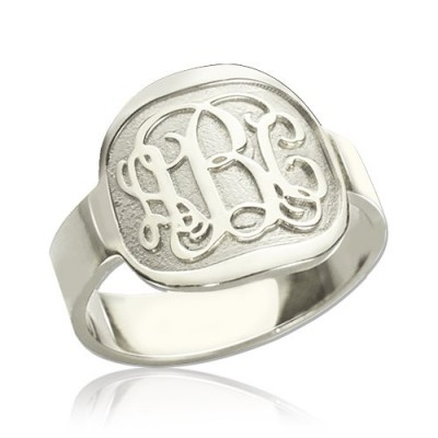 Engraved Designs Monogram Solid White Gold Ring