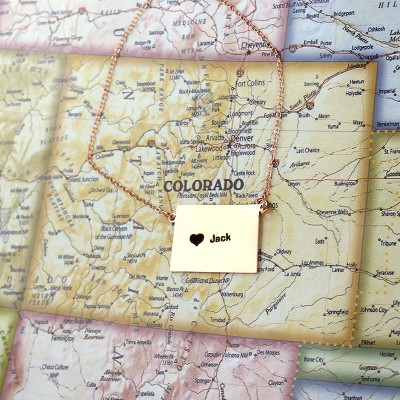Custom Colorado State Shaped Necklaces - Rose Gold