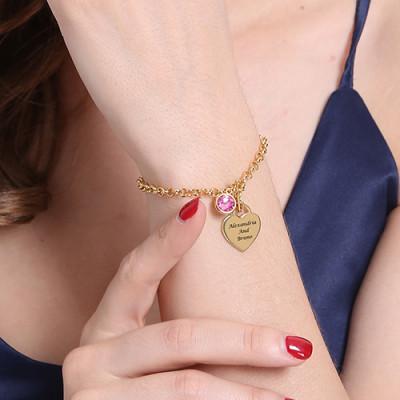 Engravable Birthstone Bracelet - Charm 18CT Gold Plate