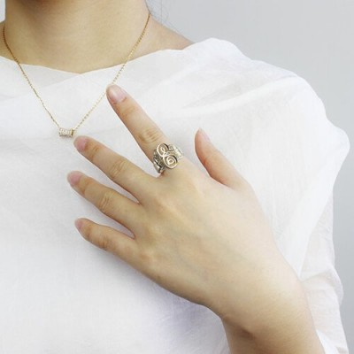 Fancy Monogram Solid White Gold Ring