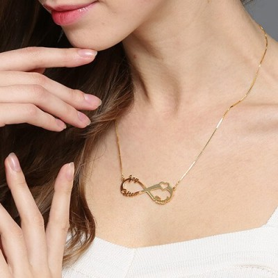 Heart Infinity Necklace 3 Names - 18CT Gold