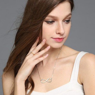 Solid Gold Heart Infinity Necklace 3 Names