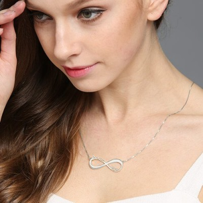Solid Gold Infinity Symbol Necklace Double Name