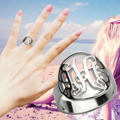 Cut Out Monogram Initial Solid Gold Ring