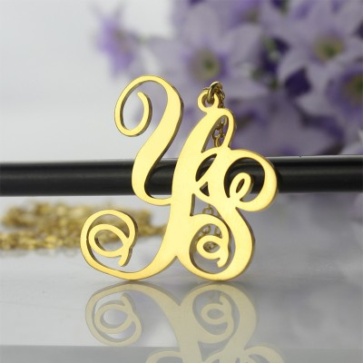 Personalised - 18CT Gold Vine Font 2 Initial Monogram Necklace