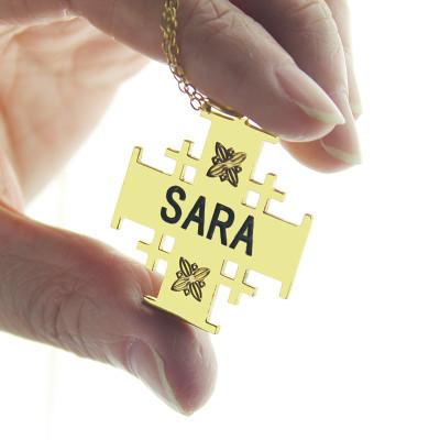 Gold Jerusalem Cross Name Name Necklace