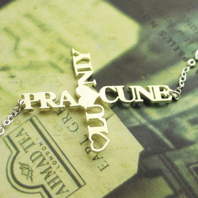Solid Gold Two Name Cross Necklace