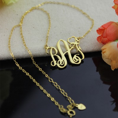 Personalised Initial Monogram Necklace 18CT Solid Gold With Heart