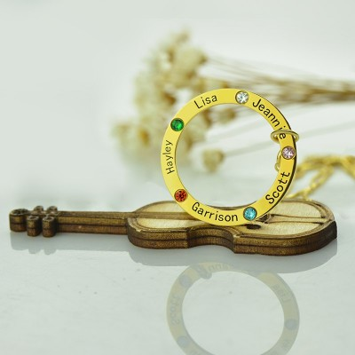 Family Circle Names Necklace For Mother - Solid Gold