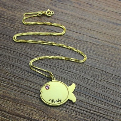 Kids Fish Name Necklace - 18CT Gold
