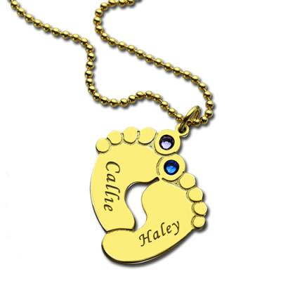 Birthstone Baby Feet Charm Pendant - 18CT Gold