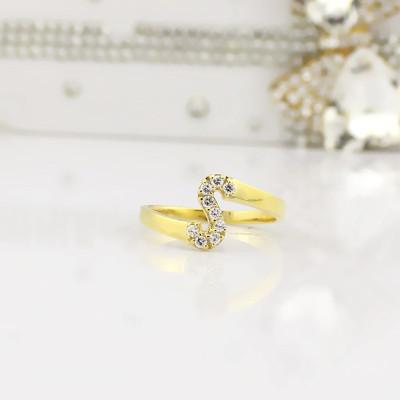 Custom Birthstone Initial Ring - 18CT Gold