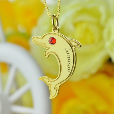 Dolphin Pendant Necklace with Birthstone Name - 18CT Gold