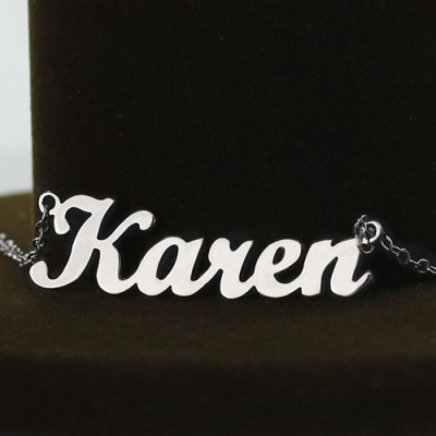 Solid 18CT White Gold Karen Style Name Necklace