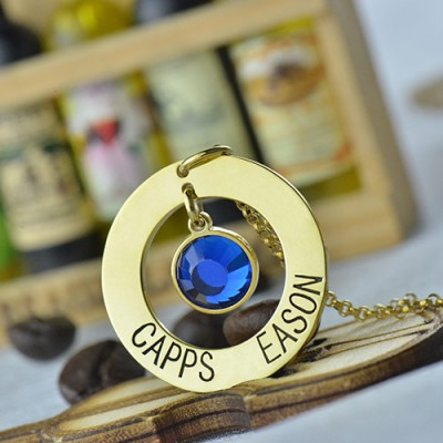 Circle Name Necklace With Birthstone 18CT Gold