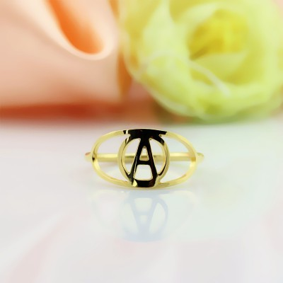 Personalised Eye Rings with Initial - 18CT Gold