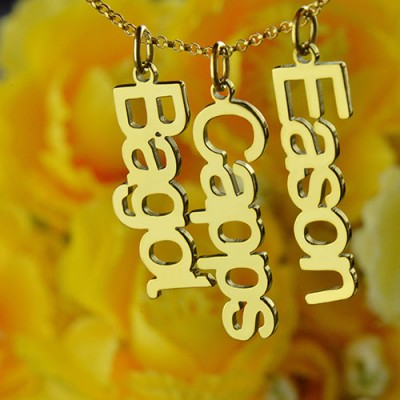 Customised Vertical Multiable Names Necklace - 18CT Gold