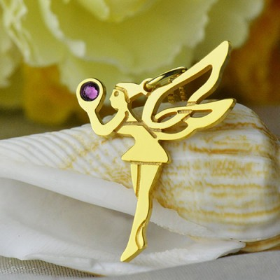 Fairy Birthstone Necklace for Girlfriend 18CT Gold