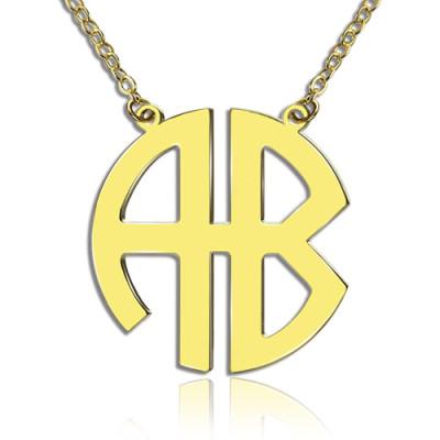 Two Initial Block Monogram Pendant - 18CT Gold