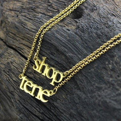 Double Layer Mini Name Necklace - 18CT Gold