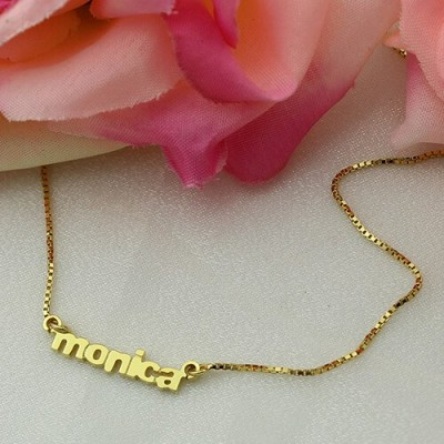 Personalised Small Lowercase Name Necklace - 18CT Gold