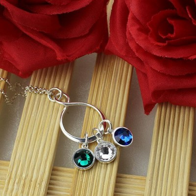 Solid White Gold Birthstone Infinity Charm Necklace