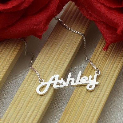 18CT White Gold Retro Name Necklace