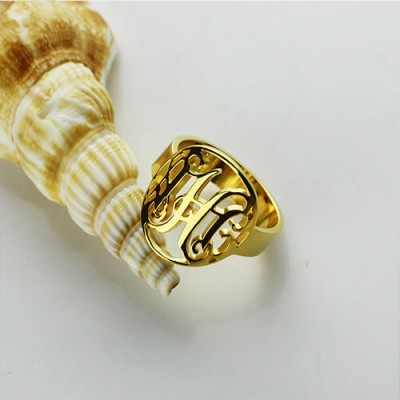 Custom Circle Cut Out Monogrammed Ring - 18CT Gold