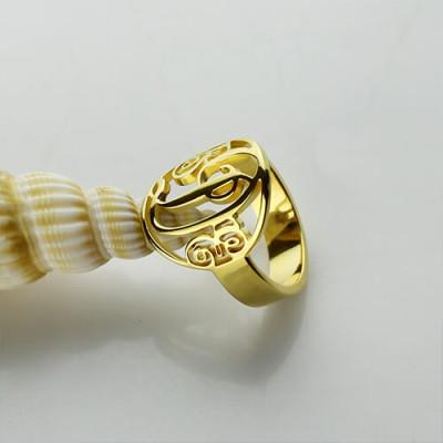 Script Framed Monogram Ring Cut Out - 18CT Gold