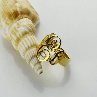 Interlocking Three Initials Monogram Ring - 18CT Gold