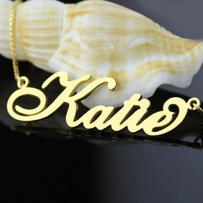 Personalised Necklace Nameplate Carrie - 18CT Gold