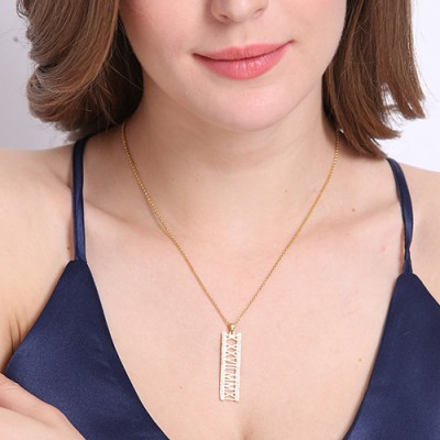 18CT Gold Roman Numeral Necklace With Birthstone