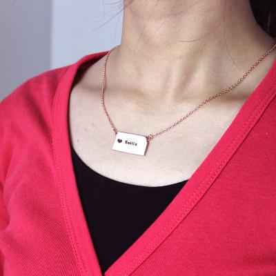 Custom Kansas State Shaped Necklaces - Rose Gold