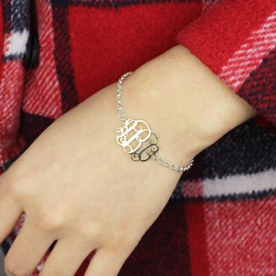 18CT White Gold Monogram Bracelet