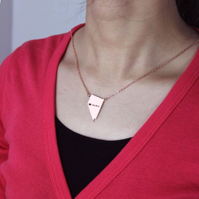 Custom Nevada State Shaped Necklaces - Rose Gold